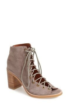 suede lace up peep toe booties