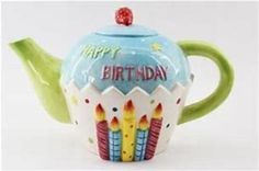 Birthday Celebration, Birthday Wishes, Happy Birthday, Teapots Unique, Birthday Letters, Love Cupcakes, Ceramic Materials, Ceramic Teapots, Piggy Bank