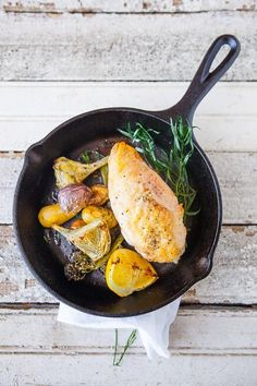 This one pan roast is perfect for early spring. We can't get enough of all the delicious artichokes and asparagus starting to show up in markets! What you need
