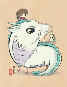 Chibi Ghibli Print Haku Spirited Away by idrawrainbows on Etsy Studio Ghibli Art, Studio Ghibli Movies, Hayao Miyazaki, Film Animation Japonais, Chihiro Y Haku, Wallpaper Animes, Kawaii Chibi, Howls Moving Castle, Spirited Away