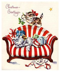 Christmas cats -- vintage Christmas Greetings and like OMG! get some yourself some pawtastic adorable cat shirts, cat socks, and other cat apparel by tapping the pin! Christmas Kitten, Old Christmas, Old Fashioned Christmas, Christmas Animals, Retro Christmas, Holiday Images, Vintage Christmas Images, Vintage Holiday, Christmas Pictures