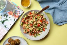 A tabouleh salad from the cookbook Hummus to Halva. It is packed with chopped mint and parsley and dressed with a generous squeeze of lemon. It is the perfect side to almost any main dish or as a simple starter. Plum Tomatoes, Cherry Tomatoes, Easy Starters, Create A Recipe, What's Cooking, Salad Bowls, What To Cook, Meals For The Week, Parsley