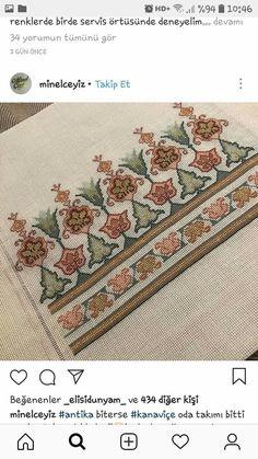 """Nurcan Oruç on Instagram: """"3 parca kaneviçe salon takimi şömen boyutunda konsol sehba isterseniz yan sehba yapilir..02166502026.. Şomen 1 - Salvabrani Hand Embroidery Videos, Folk Embroidery, Cross Stitch Embroidery, Cross Stitch Borders, Cross Stitch Patterns, Palestinian Embroidery, Contemporary Embroidery, Bargello, Blackwork"""