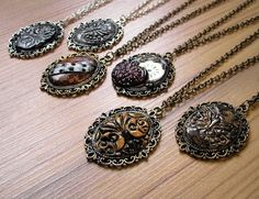 steampunk polymer clay necklaces
