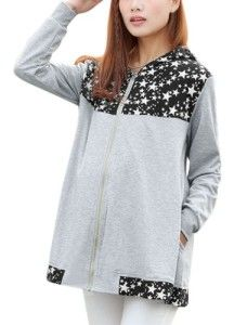 Pregnant Women Long Sleeve Stars Pattern Thin Hooded Jacket #MaternityClothes