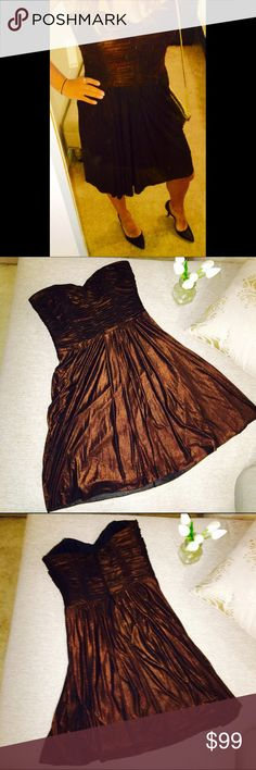 Badgley Mischka Bronze Dress Bronze Badgley Mischka party dress. Extremely comfy with boning in the bodice to keep the girls up through a whole night of dancing! Keywords: Strapless, mini, designer, runway, wedding guest, party, New Years, NYE, bachelorette, shimmer, shine. Badgley Mischka Dresses Strapless