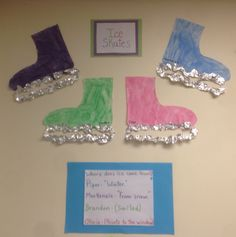 Toddler children painted a precut ice skate and glued on pieces of tinfoil. Winter Crafts For Toddlers, Winter Activities For Kids, Toddler Activities, Crafts For Kids, Preschool Projects, Kindergarten Crafts, Preschool Ideas, Winter Fun, Winter Theme