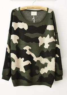 Green Camouflage Round Neck Oversized Knitted Sweater - Sheinside.com