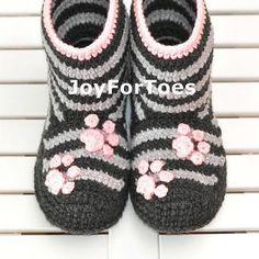 Ganchillo botas zapatillas para casa zapatos de mujer