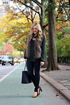 Fall Outfit: Hunter Green Blouse, Faux Fur Vest, Jeans, Leopard Pumps