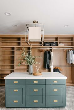 Massive walk in closet design with wood closet fittings and teal grey painted dresser in the middle via Master Closet Design, Master Bedroom Closet, Bathroom Closet, Wardrobe Design, Master Bathroom, Closet Island, Dream Closets, Closet Designs, Walk In Closet