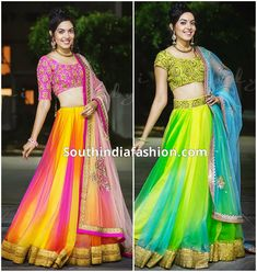 Ritu Varma in Neon Color Lehengas – Model and actress Ritu Varma in neon color designer lehengas teamed up with embroidered blouses, designed by Ashwini Reddy. For inquiries Indian Lehenga, Half Saree Lehenga, Lehnga Dress, Bridal Lehenga, Lehenga Designs, Half Saree Designs, Fancy Blouse Designs, Indian Wedding Gowns, Indian Gowns