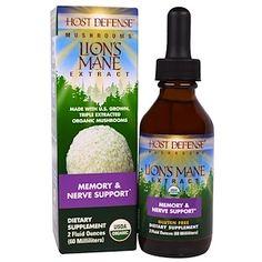Fungi Perfecti, Host Defense Mushrooms, Organic Lion's Mane Extract, Memory & Nerve Support, 2 fl oz (60 ml) - iHerb.com