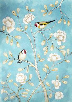 Chinoiserie, hand painted with camelia's and gold finches. Handgeschilderd, mooi als behang, met camelia's en putters.