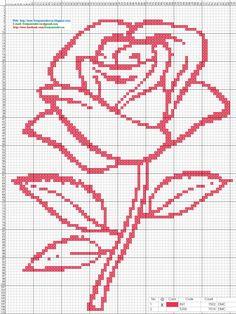 Rosa - Punto de cruz 15 x 20 centimetros 82 x 110 puntos 1 colores DMC