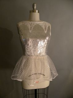 Silver sequin and lace top with peplum by allfieruth on Etsy, $45.00