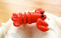 Lobster Lampwork Glass Bead by SUZOOM on Etsy, 16.00