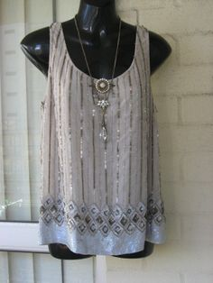 Vintage Stunning Sheer Nude  Chiffon Silver Gold by GlamourZoya, $89.00