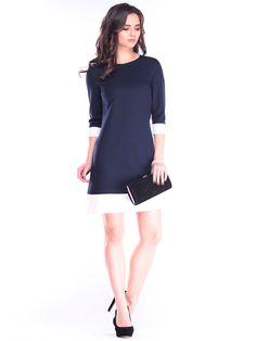 Shop Mini Dresses - Navy Blue Crew Neck Cotton-blend 3/4 Sleeve A-line Work Dress online. Discover unique designers fashion at StyleWe.com.