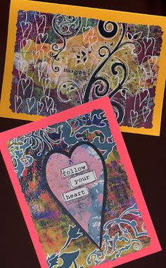 I decided to keep these cards simple because I liked the backgrounds so much and didn't want to take a way from them too much by adding a lot of elements on top of them. In some cases, I only added a simple sentiment. In others, I added some more Gelli plate prints or stamped images.