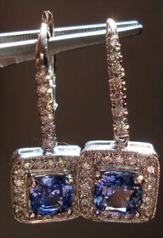 14Karat White Gold Halo Sapphire and Diamond Earrings