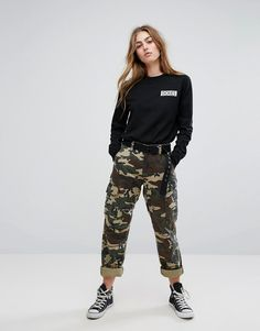 Get this Dickies's cargo trousers now! Click for more details. Worldwide shipping. Dickies Boyfriend Cargo Trousers In Camo - Green: Trousers by Dickies, Printed cotton, Mid-rise waist, Functional pockets, Relaxed boyfriend fit, Machine wash, 100% Cotton, Our model wears a UK 8/EU 36/US 4 and is 168cm/5'6 tall. Dickies traces its reputation for durability and performance back to its workwear routes. Expect sweats, chinos and tees in relaxed boyfriend cuts that call on the brand�s more than…