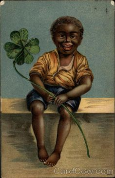 Black child with four-leaf clover Black Americana
