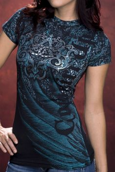 Cowgirl Up Womens Black / Turquoise Wing With Snake T-Shirt