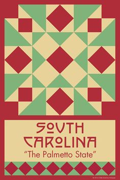 SOUTH CAROLINA quilt block.  Ready to sew. Single 4x6 block $4.95.