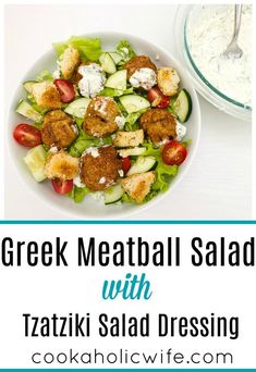 Greek Meatball Salad - Cookaholic Wife Bacon Spinach Salad, Greek Meatballs, Turkey Meatballs, Greek Seasoning, Cooking Challenge, Mediterranean Chicken, Lemon Vinaigrette, Tzatziki Sauce