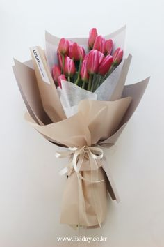 Boquette Flowers, How To Wrap Flowers, Flower Boxes, Paper Flowers, Planting Flowers, Beautiful Flowers, Tulip Bouquet, Gift Bouquet, Bouquet Wrap