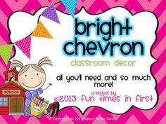 Bright Chevron Classroom Decor