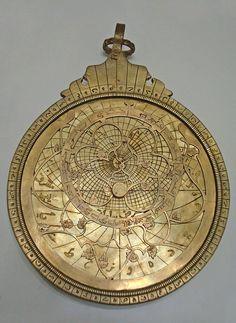"adamthenorman:  A Persian astrolabe (from the Greek: ἀστρολάβον astrolabon, ""star-taker""), made in Hafiz."