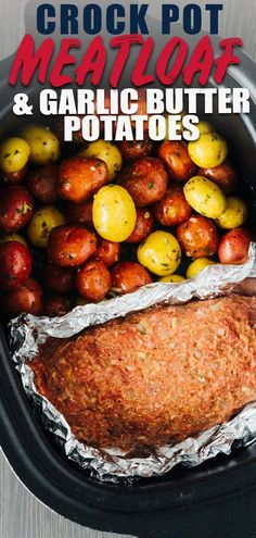 Slow Cooker Meatloaf and Potatoes and garlic butter. Tender and Perfect! dinner recipes crockpot Slow Cooker Meatloaf and Potatoes and garlic butter. Tender and Perfect! Healthy Crockpot Recipes, Beef Recipes, Meatloaf Recipes, Fast Crockpot Meals, Dinner Crockpot Recipes, Slow Cooker Hamburger Recipes, Slow Cooker Recipes Family, Appetizer Crockpot, Crockpot Lunch