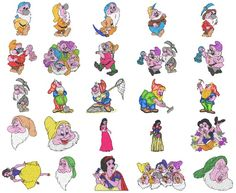 SNOW WHITE CARTOON CHARACTER EMBROIDERY MACHINE DESIGNS | Cartoon Characters…