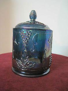 Carnival Glass Blue Grape Vase/Jar Design with Lid