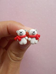 Polar Bear earrings Winter Earrings Stud earrings Christmas