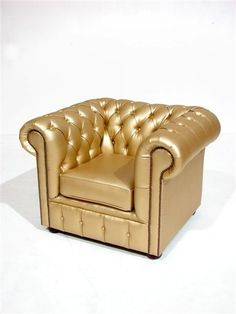 Gold Club Armchair This furniture is perfect for any break out area where you want to add a twist on traditional Chesterfield Furniture; perhaps Gold Furniture for a James Bond Gold Finger themed event? Silver Furniture, Unique Furniture, Furniture Stores, Chesterfield Furniture, Sofa Design, Interior Design, Gold Everything, Or Noir, Gold Aesthetic