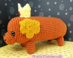 This is a pattern to make Hot Dog Princess from Adventure Time. She smells like hot dog water. Quick Crochet Patterns, Crochet Amigurumi Free Patterns, Love Crochet, Crochet Gifts, Crochet Designs, Crochet Toys, Adventure Time Crochet, Adventure Time Crafts, Beginning Crochet