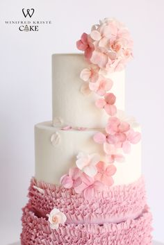 Close up shot of our pink ombre wedding cake. Made with sugar hydrangeas and roses...& our signature frills!