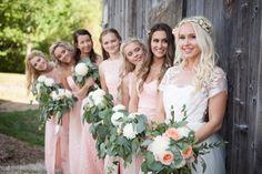 Peach wedding dresses, Floral by Leuk in Collingwood, Ontario. Wedding dress by Jordan de Ruiter Clothing Rustic Bohemian Wedding, Treatment Rooms, Bridesmaid Dresses, Wedding Dresses, Fashion Boutique, Ontario, Our Wedding, Spa, Peach