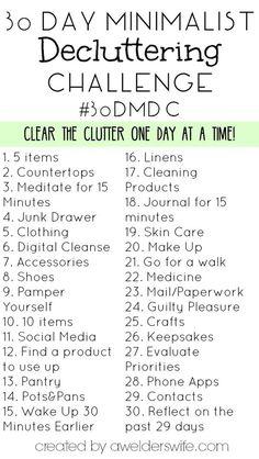 30 Day Minimalist Decluttering Challenge   www.awelderswife.com #30DMDC