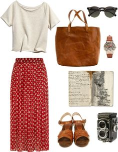 Spring outfit ideas summer outfits warm weather style inspiration simple ivory tee with red printed maxi skirt brown tote bag and brown sandals 65 fall outfits for school to copy asap Fashion Mode, Look Fashion, Womens Fashion, Lolita Fashion, Skirt Fashion, Latest Fashion, Fashion Dresses, Fashion Trends, Looks Chic