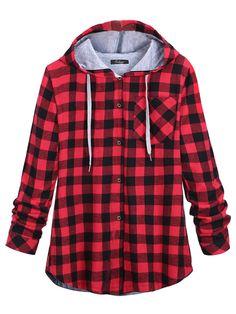 Sale 22% (34.39$) - Plus Size Casual Plaid Long Sleeve Hood Jacket