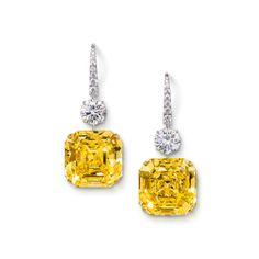Rosamaria G Frangini | High Yellow Jewellery | Graff Gemini Emerald Cut Yellow Diamond And White Diamond Drop Earrings