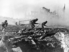 Soviet soldiers advance against the German army during the Battle of #Stalingrad.The #BattleofStalingrad (23 August 1942 – 2 February 1943) was a major battle of #WorldWarII in which Nazi Germany and its allies fought the #SovietUnion for control of the city of Stalingrad (now Volgograd) in Southern Russia, on the eastern boundary of Europe.