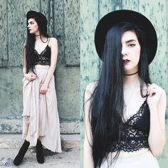 Style Moi Lace Top gothic grunge nude maxi skirt long black hair