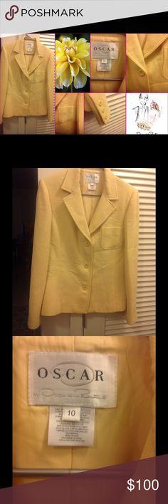 OSCAR DE LA RENTA butterscotch yellow blazer Beautifully tailored yellow blazer. Great with a scarf this fall & winter. Oscar de la Renta Jackets & Coats Blazers