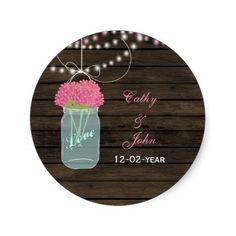 pink flowers mason jar wedding favor stickers