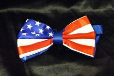 Men's Red White Blue American Flag Patriotic Silk Bow Tie Pre-tied
